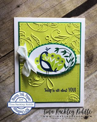 SIP Challenge , Embossing, Stampin' Up! Beautiful Peacock, Tina's Crop Shop, Sale-a-bration 2018