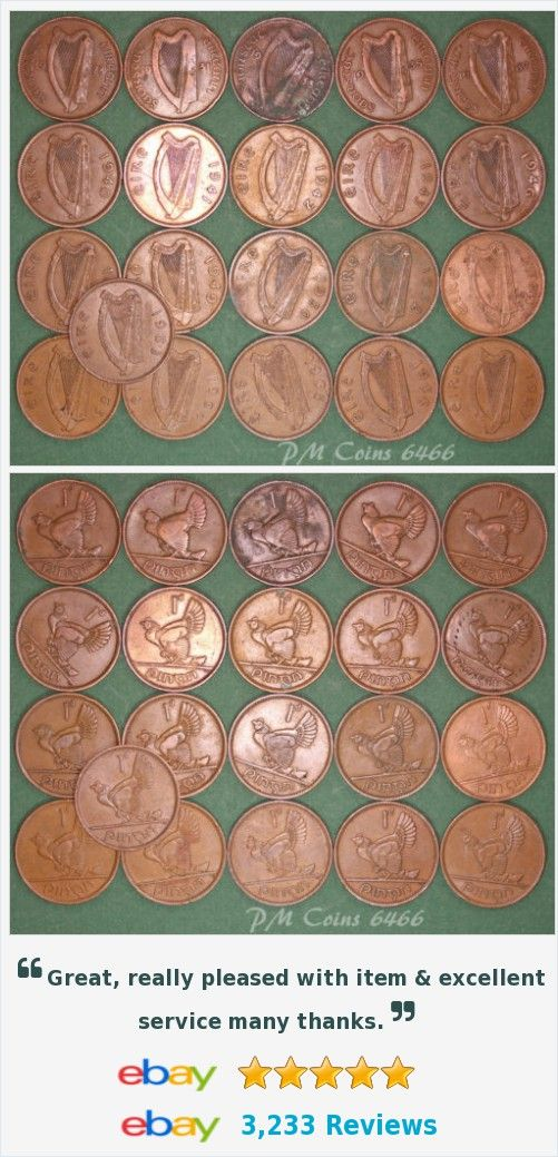 21 Irish Pennies 1d EIRE Ireland, 1928 to 1968 complete date run, coins [6466] http://www.ebay.co.uk/itm/21-Irish-Pennies-1d-EIRE-Ireland-1928-1968-complete-date-run-coins-6466-/371679248561?hash=item5689cf40b1