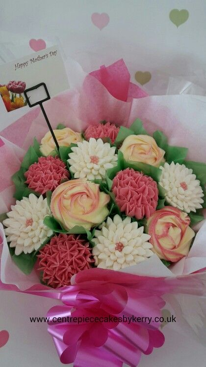 Mother's day cupcake bouquet but could be given as bridal party gifts at a wedding.