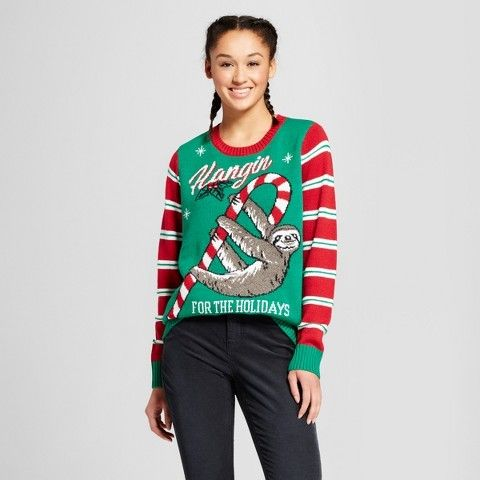 Ugly Christmas Sweater Women's Hanging Fuzzy Sloth Sweater - Ugly Christmas Sweater Green. Christmas sweater fashions. I'm an affiliate marketer. When you click on a link or buy from the retailer, I earn a commission.