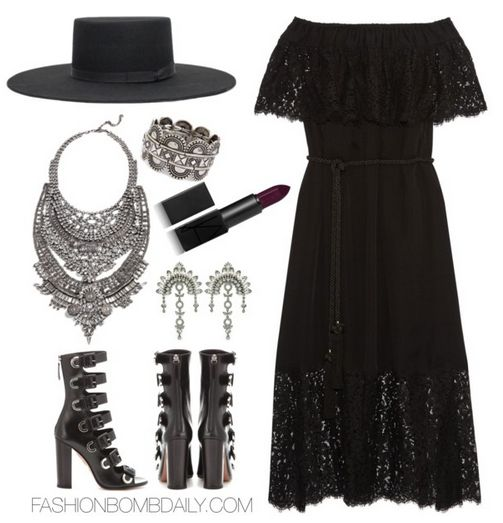Spring 2016 Style Inspiration What to Wear to Beyonce's Formation Tour Rachel Zoe Pila maxi dress Aquazzura Tutto Buckle Leahter Sandal Brixton Black Ally II Hat