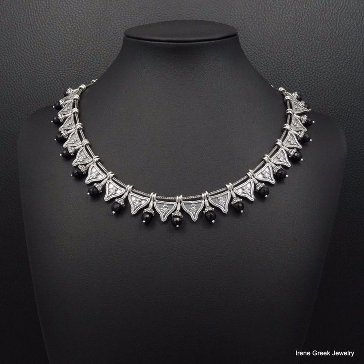 RARE NATURAL BLACK ONYX BYZANTINE STYLE 925 STERLING SILVER GREEK ART NECKLACE #IreneGreekJewelry #Collar