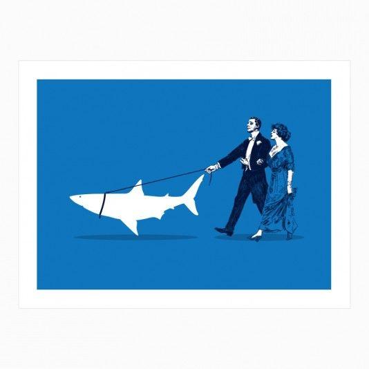 Walking the Shark art | decor | wall art | inspiration | contemporary | home decor | idea | humor | gifts