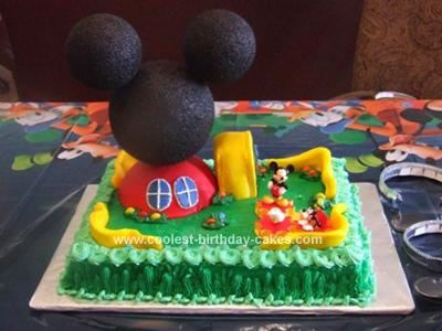 Homemade Mickey Mouse Clubhouse Birthday Cake: My little boy is in love with Mickey Mouse. He watches him almost daily before daycare, so it was no surprise he wanted a Mickey Mouse Clubhouse cake.