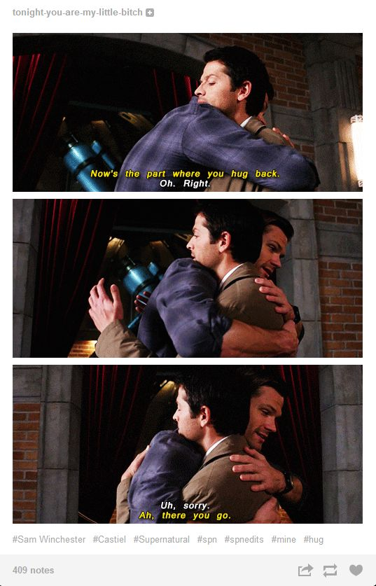 Sam literally instructing Castiel on how to hug. XD This makes me so happy.