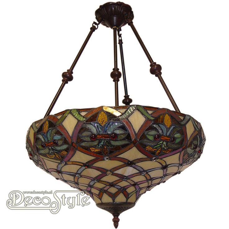 Tiffany Hanglamp Neadevan Flower  Een bijzonder mooie hanglamp. Helemaal met de hand gemaakt van echt Tiffanyglas. Dit originele glas zorgt voor de warme uitstraling. De voet is bronskleurig. Met 2x grote fitting (E27) Max 60 Watt. Afmetingen: Hoogte: 80 cm Diameter Kap: 41.5 cm