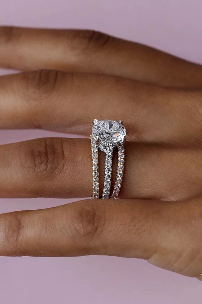 24 TOP Engagement Ring Ideas ❤️ top engagement ring ideas unique diamond ring tree pave bands ❤️ See more: http://www.weddingforward.com/top-engagement-ring-ideas/ #wedding #bride