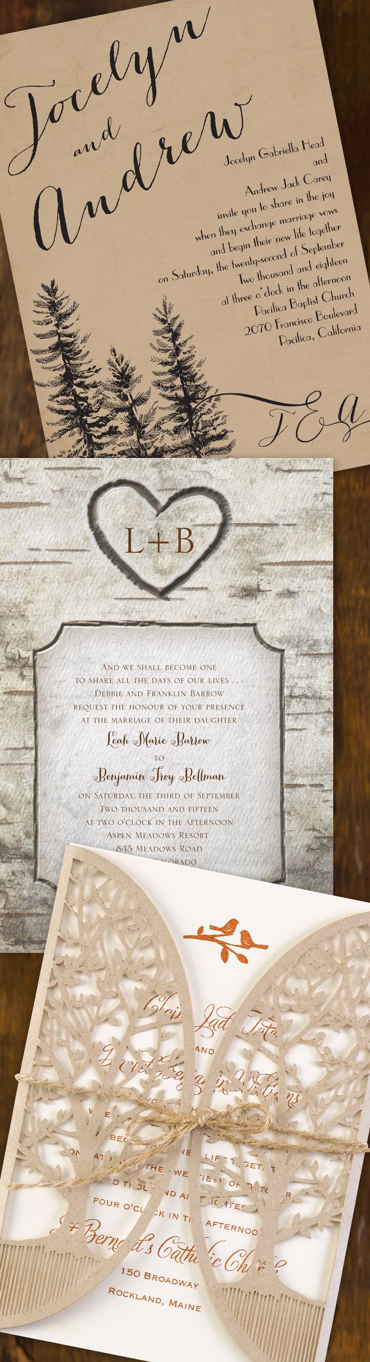 Wedding in the country. Elegant party in an old barn. Escape to the mountains. You're going to need rustic wedding invitations that show your unique style! @dawninvites