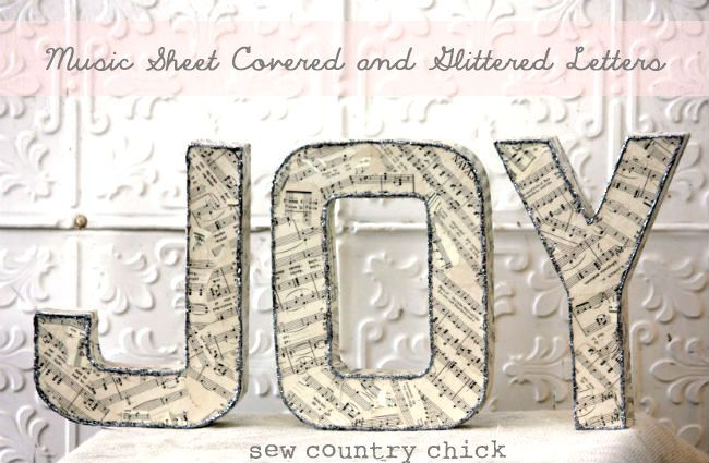 Sheet Music & Glitter Letters Tutorial {guest post} - So You Think You're Crafty