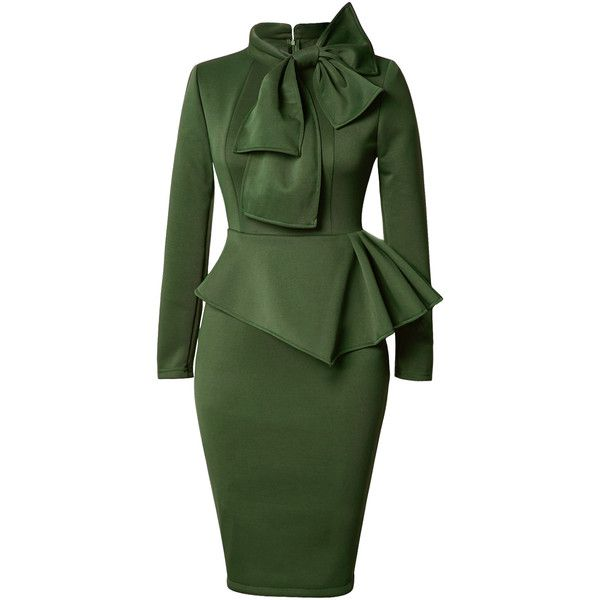Rotita Peplum Waist Bowknot Embellished Army Green Dress (£26) ❤ liked on Polyvore featuring dresses, army green, peplum dress, sheath dress, olive green dress, green long sleeve dress and cotton midi dress