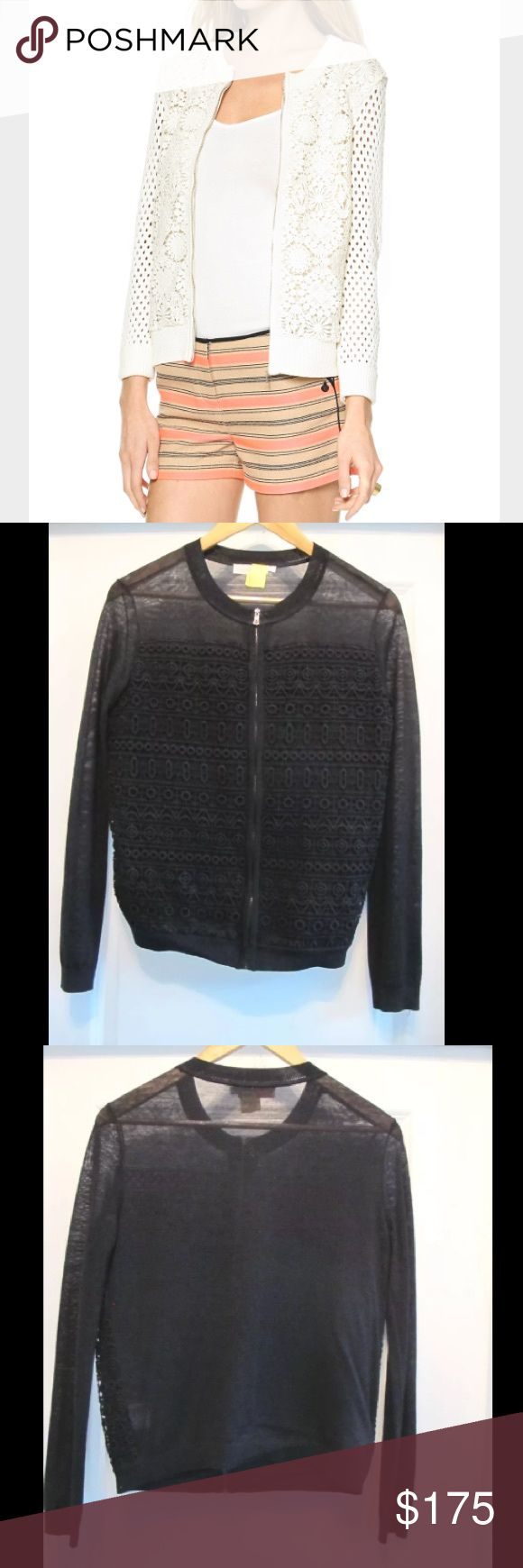 $328 RETAIL RARE TORY BURCH CROCHET JACKET SWEATER $328 + TAX RETAIL RARE TORY BURCH LACE/CROCHET ZIP UP JACKET SWEATER CARDI SIZE SMALL (flaw: tiny hole on back- worn 1x and washed)- THE PERFECT TRENDY LAYER FOR SPRING THAT MATCHES EVERYTHING- THE WHOLE DESIGN IS SO SO FLATTERING AND SOFT. FIRST PICTURE IS A SIMILAR SWEATER AND SIMILAR SILHOUETTE. IT WAS A LIMITED EDITION ITEM PURCHASED FROM NORDSTROM. TRULY A WARDROBE STAPLE MUST HAVE. •PRICED TO SELL SAME DAY, OFFERS WELCOME THROUGH THE…