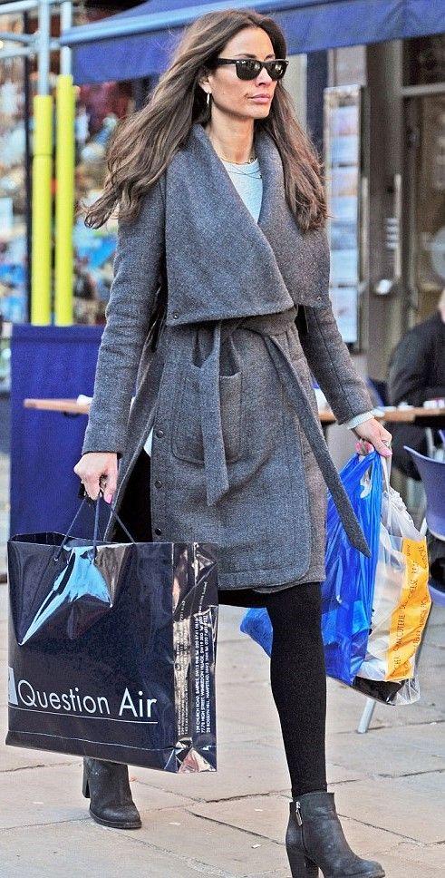 Melanie Sykes in grey coat