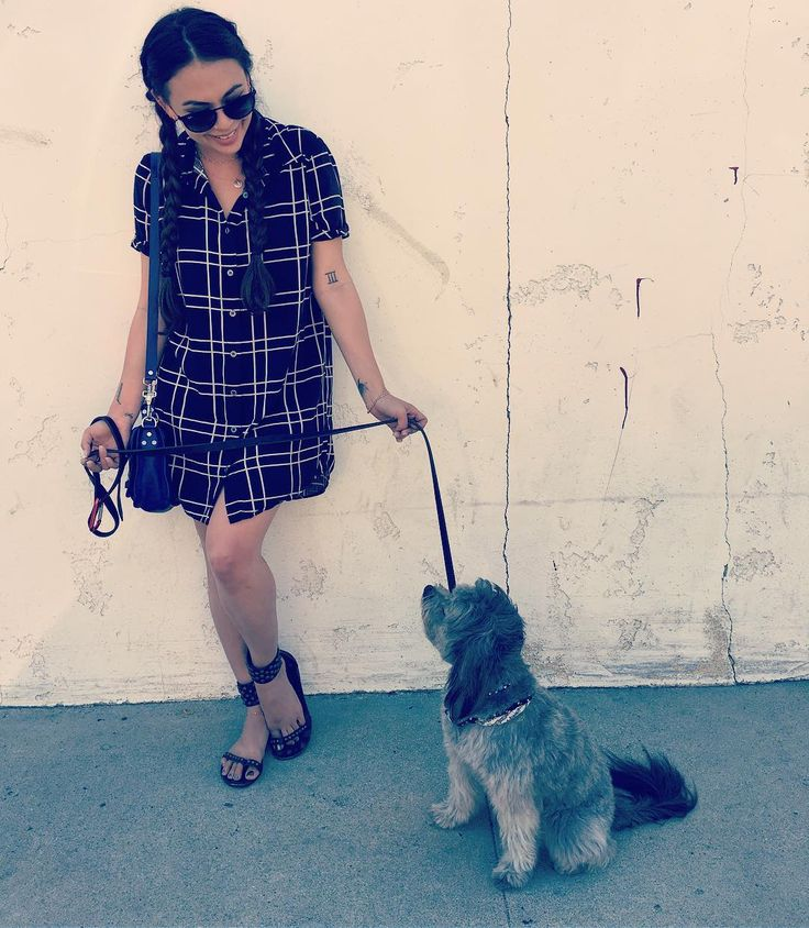 Love Janel Parrish's plaid shirt dress. Perfect summer or spring outfit.