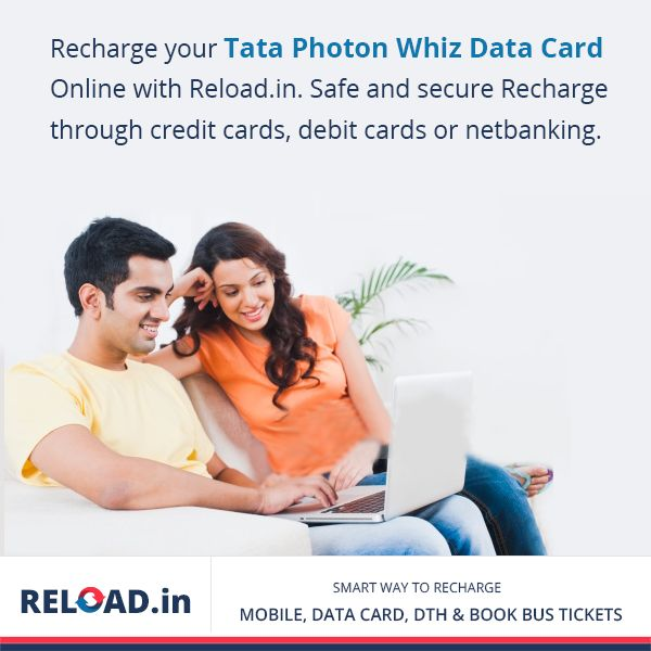 Recharge your #TataPhotonWhiz‬ Data Card Online with Reload.in. Safe and secure #recharge‬ through credit cards, debit cards or netbanking. Visit @ https://www.reload.in/tata-photon-whiz-online-datacard-recharge/