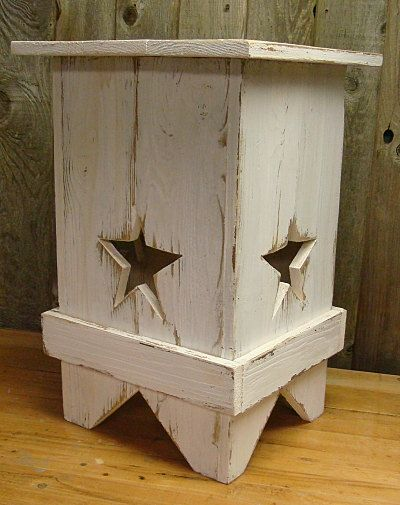Lone Star White Weathered Wood Side Table Night