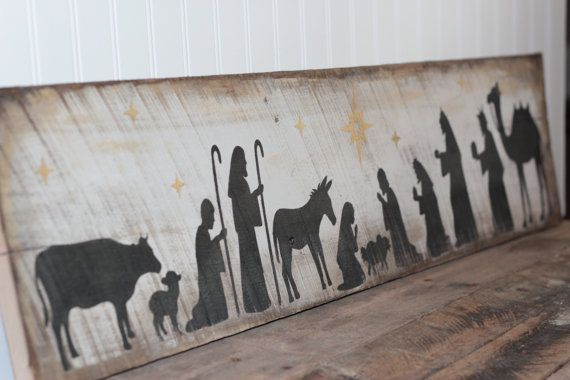 Nativity Scene, wooden sign made from reclaimed pallet wood