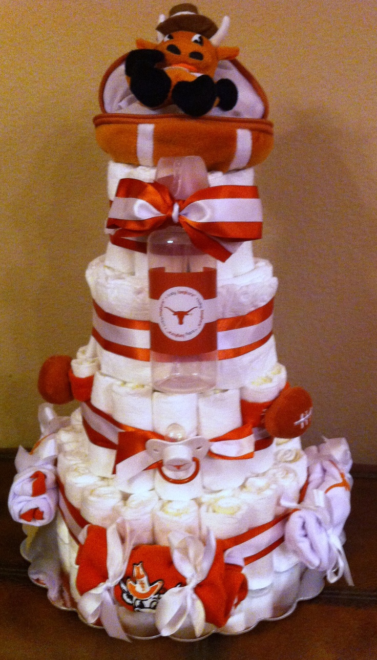 Texas Longhorn Diaper Cake...These are actually really easy to make, and they are so cute! For some really good step-by-step instructions, visit http://www.wikihow.com/Make-a-Diaper-Cake.