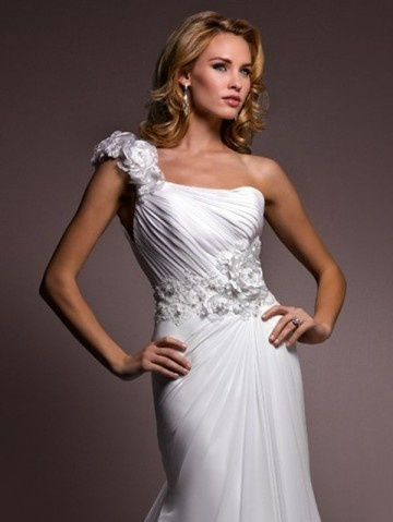 2012 Style Trumpet / Mermaid One Shoulder Hand-Made Flower 3/4-Length Court Trains Chiffon Wedding Dresses For Brides