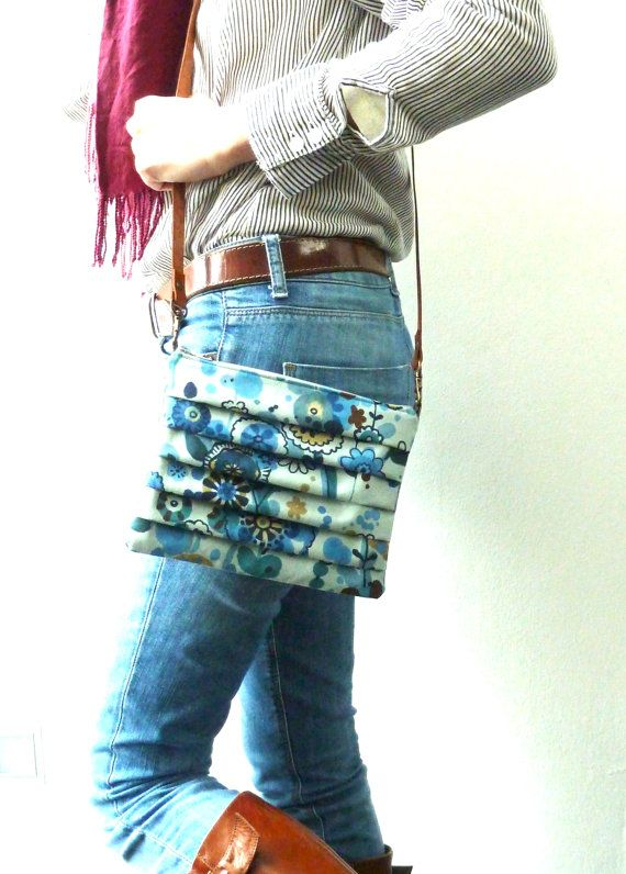 Pleated Shoulder and Clutch bag Dreaming Blue -  Made to order. €40,00, via Etsy.