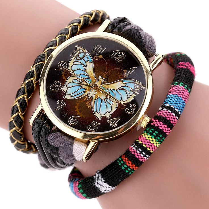 Retro Leather Butterfly Dial Bracelet Watch // Price: $10.95 & FREE Shipping Worldwide //  We accept PayPal and Credit Cards.    #beauty