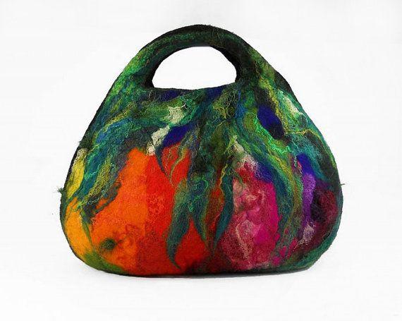 Felted Bag Handbag Purse wild Felt Nunofelt Nuno felt Silk black noir purple rainbow fairy multicolor floral fantasy Fiber Art boho. $99.00, via Etsy.