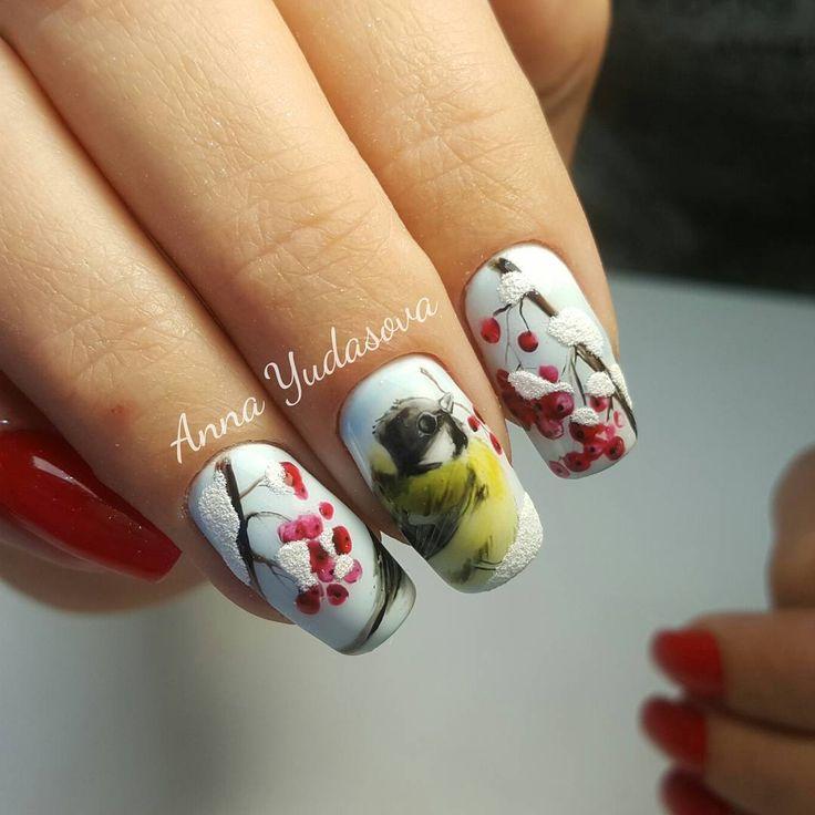 Синичка #рисунок  Натуральные ногти ☝ #аннаюдасова #ногтинарофоминск #гельлак #гель #дизайнногтей #зимнийманикюр