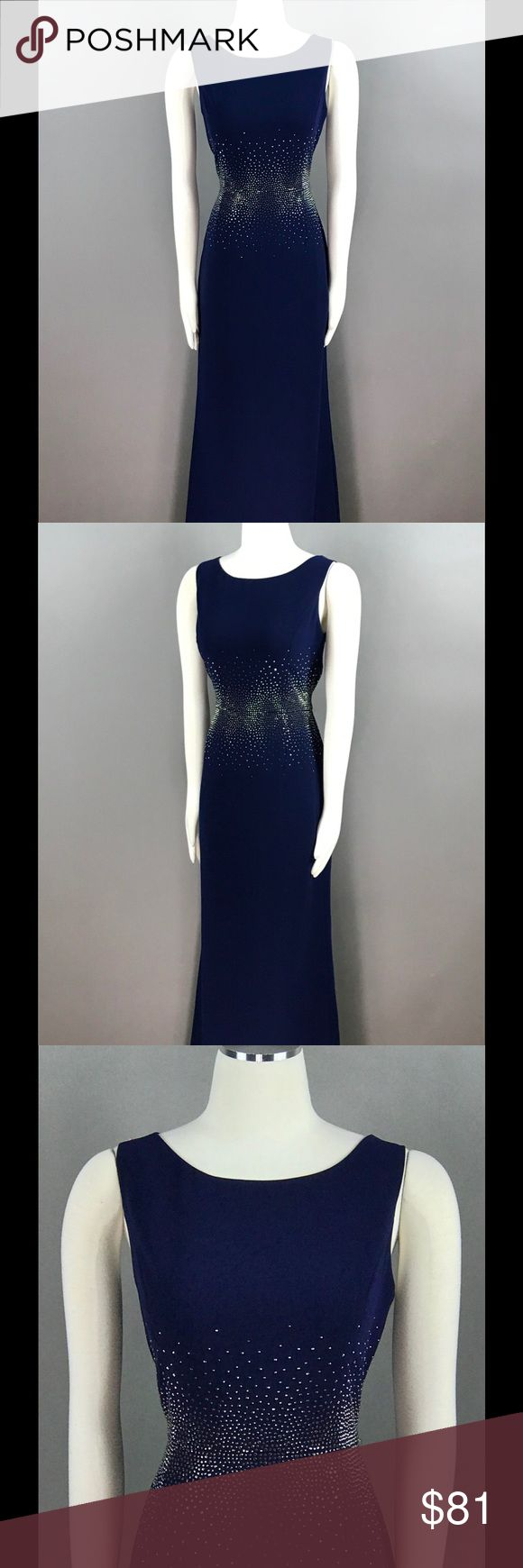 Calvin Klein Navy Maxi Dress Jewel Beaded NEW Calvin Klein Navy Twilight Evening Dress Size 10 Jewel Beaded Slit Back Lined $199 Gown NEW Calvin Klein Dresses Maxi