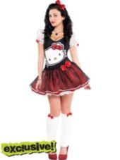 womens sequin bow hello kitty costume with leg warmers halloween city - Halloween Hello Kitty Costume