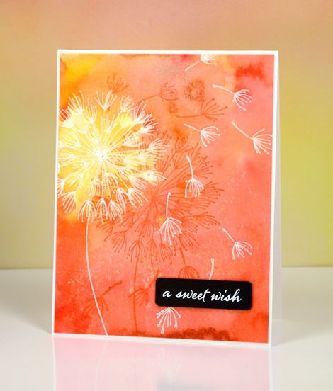 Sweet Orange Wish Heather Telford - Stamp images in clear on watercolour paper, then using coloured gesso or paint or distress inks, add colour to background adding water with paintbrush. When dry stamp again with white embossing. Add sentiment...