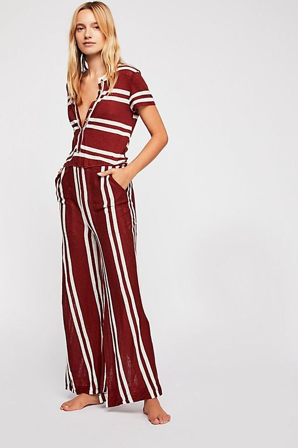 577fc3a9113e Stand By Striped Jumpsuit - Maroon and White Striped Casual Linen Short  Sleeve Jumpsuit