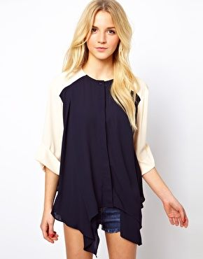 ASOS Top With Colourblock And Dip Sides