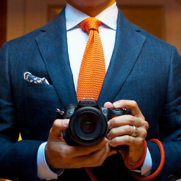 orange-knitted-tie-navy-blazer-paisley-pocket-square-wide-spread-collar-