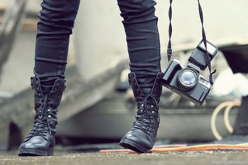 Combat boots: Cam Photography, Camera Boots, Combat Bootsc, Style, Clothing, Chilis, Black Boots, Boots Camera, Black Camera