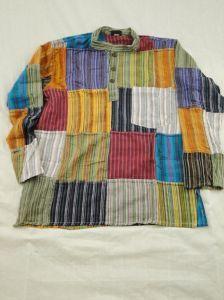 Hippy Shirt~Mens Ethnic Stripey Patchwork Grandad Shirt~Fair Trade By Folio Gothic Hippy~N213-SH035