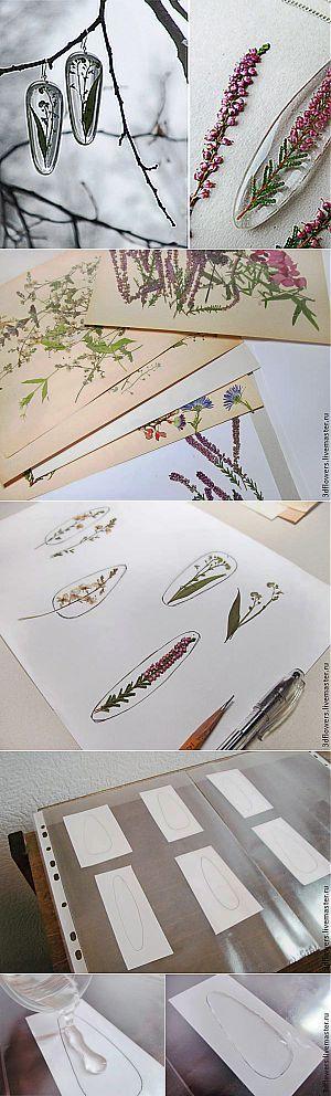 МК эпоксидная смола и сухоцветы - создание прозрачных украшений без молдов | Самоделкино