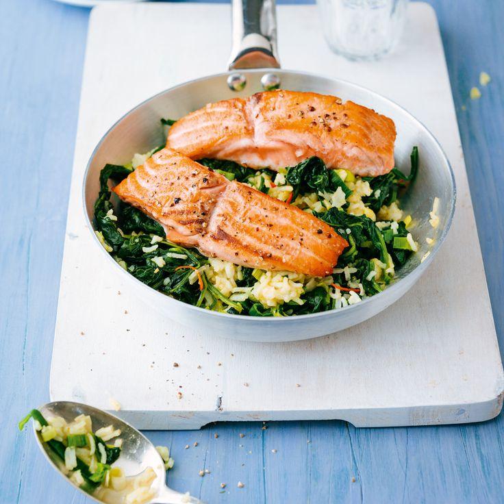 Wer lieber auf Lachs verzichten möchte, kann die Reispfanne stattdessen auch mit Dorade oder Thunfisch zubereiten. In jedem Fall ein Hit!