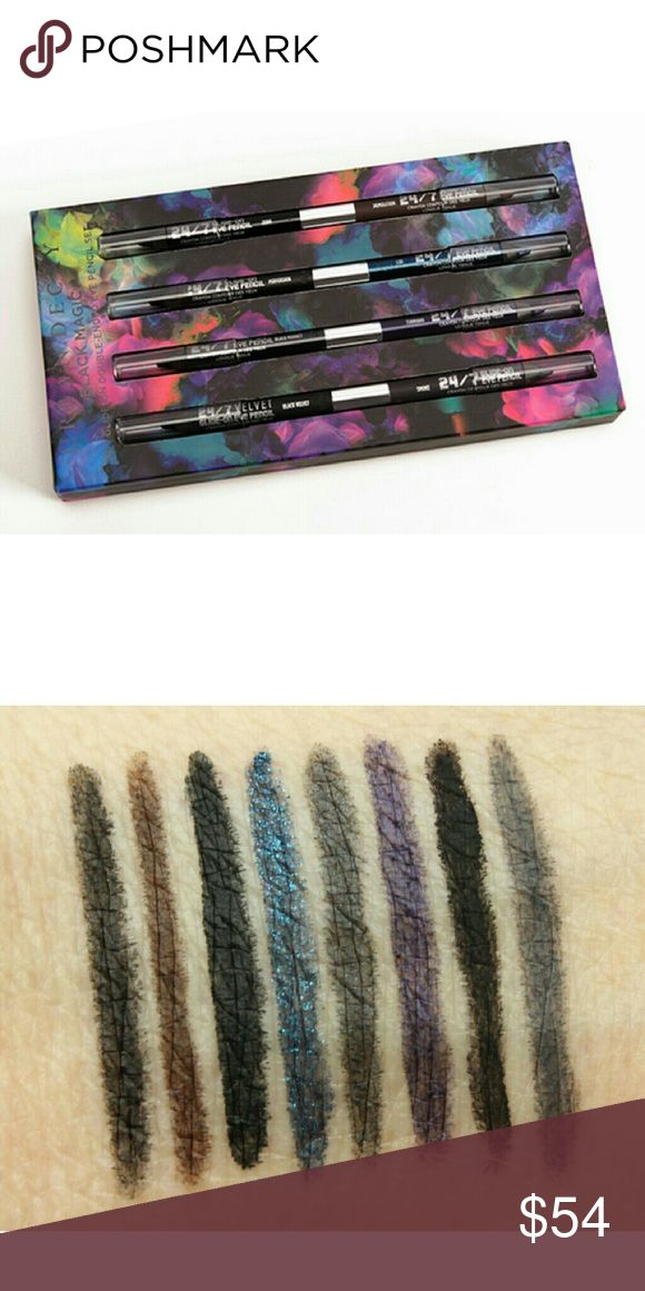 Coming Soon UD Black Magic 24/7 Eyeliner Set It's the ultimate pairing set for black liner junkies: four of Urban Decay's Double-Ended Eye Pencils--for a total of eight habit-forming hues--all in their award-winning, waterproof 24/7 formula. Like most women, the makeup junkies at Urban Decay are obsessed with black liner. But they're also serious color addicts. Every double-ended pencil in this set includes a black shade and a rich, colorful shade. Experiment with every black shade Ud makes…