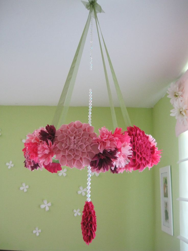 Baby Nursery Awesome Paper Flower Chandelier Baby Mobile Pink Red Color Scheme Green Stained Wall White Ceiling Girl Baby Nursery Decorating Ideas Winsome Chandelier Baby Mobile In Many Option Design
