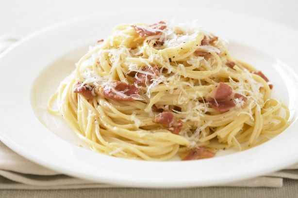 Carbonara sauce .. hubby made this tonight, he used only the yolks no whites and left over baked ham from christmas.. was delicious kids ate it too, he will def be cooking this again, lol