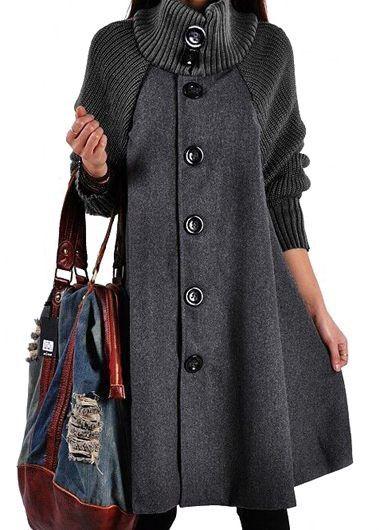 Button Closure Grey Long Sleeve Swing Coat