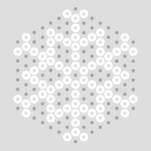 Snowflake patterns for hexagon board; suggests filling in background with transparent or colored beads and leaving a hole empty for hanging