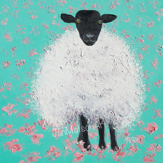 Sheep painting, nursery art, animal paintings, kids painting, kitchen decor, impressionist art, Etsy Art by Jan Matson.