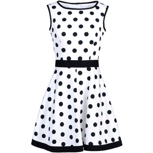 Plain weave. No appliqués. Polka dots. Sleeveless. Round collar. Hook-and-bar, zip. Lined interior. Material:97% Cotton, 3% Elastane
