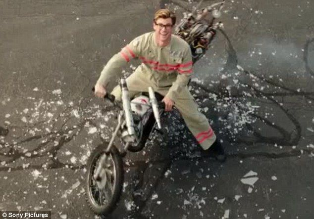 His own suit: Kevin is seen wearing one of the Ghostbusters uniforms and riding a motorcyc...