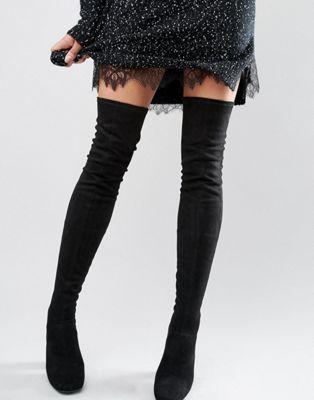New Look - Stivali sopra il ginocchio scamosciati con tacco anni '60 39