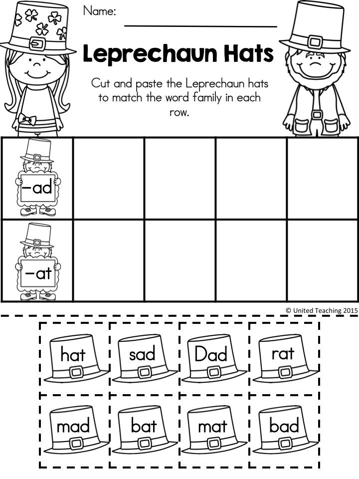 FREE Leprechaun Hats >> Sorting -ad and -at family words