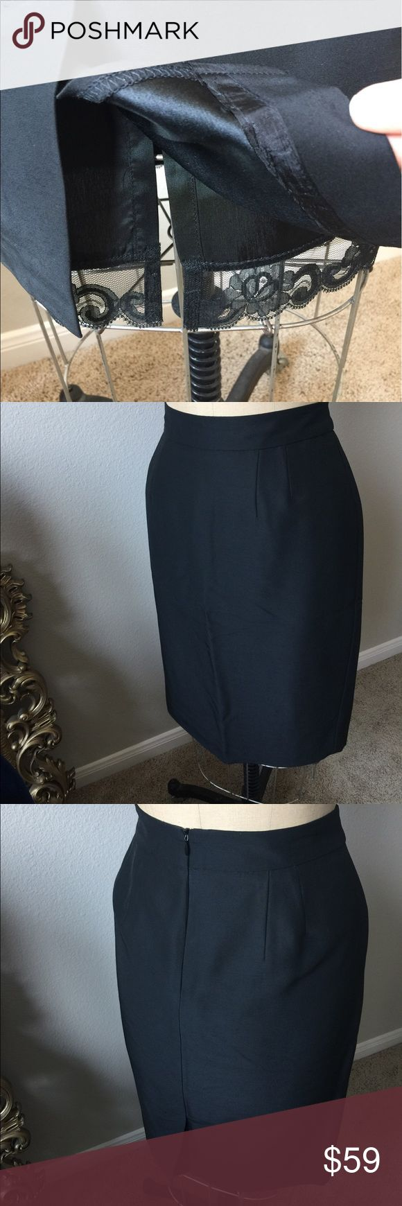Gorgeous Trina Turk Black Pencil Skirt! Black Trina Turk Los Angeles Pencil Skirt. The pics don't do this one justice! Very nice skirt!! 73% wool 27% silk. The lining has lace at the bottom that peaks through the bottom of the skirt. Zips in back. Small slit in back. Size 8. Great condition! Trina Turk Skirts Pencil