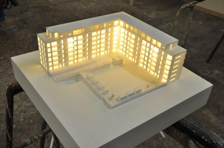 Arkitekturmodel med belysning