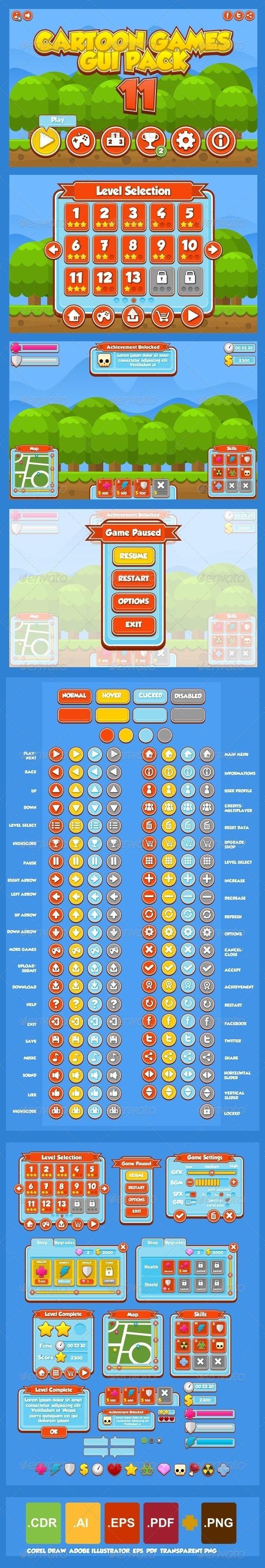 Cartoon Games GUI Pack 11 by Zuhria Alfitra, via Behance