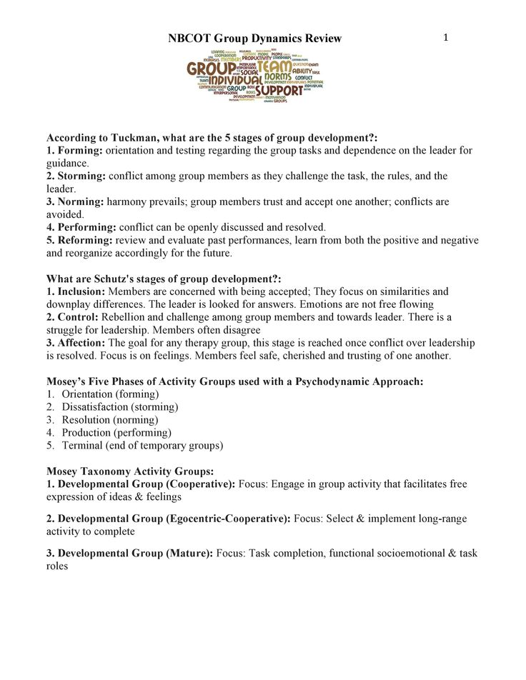 Group Dynamics Review page 1